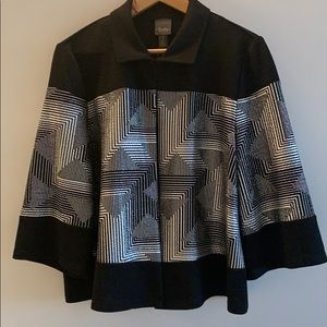 Chico's black and silver foil jacket.